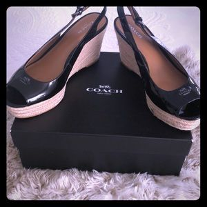 Coach Patent Leather Black Espadrilles! New -Sz9